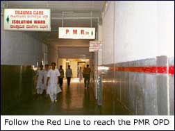 Follow the Red Line to reach the PMR OPD